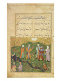 Folio 39, a Garden Scene, from the 'Bustan of Sa'di' (The Flower-Garden of Sa'di) Premium Giclee Print by  Persian