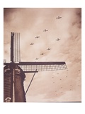 Allied Aircraft Tow Gliders Carrying Airborne Troops over the Netherlands, Battle of Arnhem, 1944 Premium Giclee Print by  English Photographer