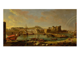 The Port at Naples (View of the Castel Nuovo at the Palazzo Reale), 1711 (Oil on Canvas) Giclée-Druck von Gaspar van Wittel