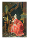 Portrait of a Lady, Said to Be Madame Adelaide, Daughter of Louis Xv, Playing a Harp Giclée-Druck von Louis Michel Van Loo