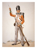 Wellington's Army: Soldier of the 69th Foot Loading His 'Brown Bess' Musket in 1815 (Colour Litho) Giclee Print by  English