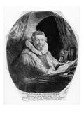 T29953 Portrait of Jan Uytenbogaert, Preacher of the Remonstrants, 1635 (Etching) (B/W) Giclee Print by  Rembrandt van Rijn