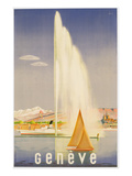 Advertisement for Travel to Geneva, C.1937 (Colour Litho) Giclee-vedos tekijn Fehr
