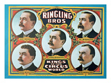 Poster Advertising the 'Ringling Bros. Kings of the Circus World', 1905 (Colour Litho) Giclee Print by  American