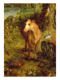 Earth or the Earthly Paradise, Detail of a Cow, Porcupine and Other Animals, 1607-08 Giclee Print by Jan the Elder Brueghel