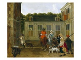 Hunting Party in the Courtyard of a Country House, C.1665 (Oil on Canvas) Gicl&#233;e-Druck von Ludolf de Jongh