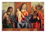Madonna and Child with St. John the Baptist and St. Paul (Oil on Panel) Giclee Print by Michele Giambono