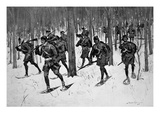 The March of Rogers Rangers (Litho) Premium Giclee Print by Frederic Sackrider Remington