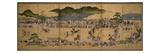 Six-Fold Screen Depicting a Dog Chasing Contest, Japanese, 1624-43 (Ink, Paint and Gold on Paper) Giclee Print by  Japanese