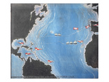 Map Showing the Route of Christopher Columbus on His First Voyage to the New World Giclee Print by  Spanish