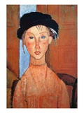 Girl with a Black Hat, 1918 Premium Giclee Print by Amedeo Modigliani