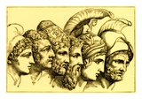 The Heroes of the Trojan War: Paris, Diomedes, Odysseus, Nestor, Achilles, Agamemnon Premium Giclee Print by  English
