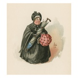 Mrs Gamp, Illustration from 'Character Sketches from Charles Dickens', C.1890 (Colour Litho) Giclee Print by Joseph Clayton Clarke