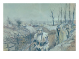 A Trench in Artois, 1915-16 (W/C on Paper) Giclee Print by Francois Flameng