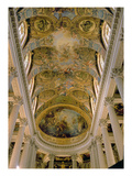 View of King's Gallery and Vaulted Ceiling Depicting God Among Angels, and Resurrection of Christ Giclee Print by Antoine Coypel