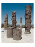 The Atlantean Columns on Top of Pyramid B, Pre-Columbian (Photo) Giclee Print by Toltec