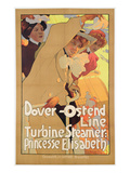 Dover- Ostend Line', Poster Advertising Travel Between England and Belgium on Princesse Elisabeth Premium Giclee Print by Adolfo Hohenstein