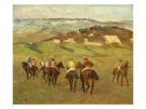 Jockeys on Horseback before Distant Hills, 1884 Giclee Print by Edgar Degas