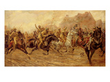 The Charge of the Bengal Lancers at Neuve Chapelle (Oil on Canvas) Giclee Print by George Derville Rowlandson
