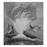 The First Torpedo, Invented by Robert Fulton (1765-1815) Blows Up the Danish Brig 'Dorothee' Giclee Print by  American
