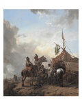 Soldiers Carousing with a Serving Woman Outside a Tent, C.1655 (Oil on Oak Panel) Giclee Print by Philips Wouwermans Or Wouwerman