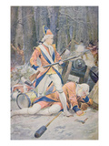 A British Drummer Boy Stands Firm During a French-Led Indian Ambush (Colour Litho) Giclee Print by Alfred Pearce