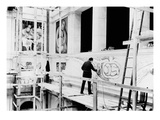 Diego Rivera Painting the East Wall of 'Detroit Industry' (B/W Photo) Giclee Print