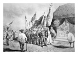 Commodore Perry in Japan in 1853 Meeting Imperial Commissioners at Yokohama Giclee Print by  Japanese