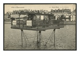 Postcard Depicting the Moving Bridge at High Tide in Saint-Malo, C.1900 (Photolitho) Giclee Print by  French Photographer