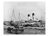 Steamboats Loading Cotton at New Orleans, Louisiana, C.1890 (B/W Photo) Giclee Print by  American Photographer