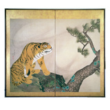 Tiger Screen, Japanese, 1781 (Ink, Colour and Gold on Paper) Wydruk giclee autor Maruyama Okyo
