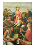 Madonna and Child with Ss. Peter, Jerome and Mary Magdalene with a Bishop, 1500 (Oil on Panel) Giclée-Druck von Alvise Vivarini