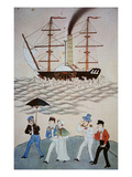 Chinese Painting of the First British Steamship and Passengers to Land at Canton C.1840 Giclee Print by  Chinese