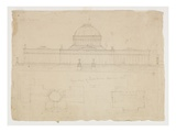 Elevation of the State House, Columbus, Ohio, C.1838 (Graphite Pencil on Beige Wove Paper) Giclee Print by Thomas Cole