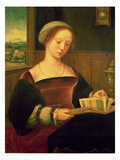Mary Magdalene Reading (Oil on Panel) Giclee Print by  Master of Female Half Lengths