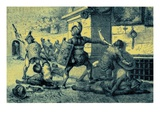 A Roman Holiday, Combat of Gladiators Giclee Print by  English