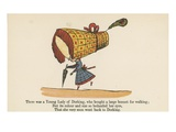 There Was a Young Lady of Dorking, Who Bought a Large Bonnet for Walking Giclee Print by Edward Lear
