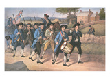 American 'Minute-Men' Marching Against the British to the Martial Music of Fife and Drum Premium Giclee Print by  American