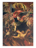 The Archangel Michael Vanquishing the Devil Premium Giclee Print by Antonio Maria Viani