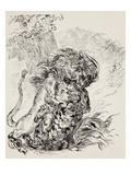A Lion Savaging a Tiger Giclee Print by Eugene Delacroix