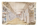 The Long Room, Interior of Front Room in Peale's Museum, 1822 (W/C over Graphite on Paper) Giclee Print by Charles Willson Peale