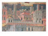 Detail of Good Government in the City,1338-40 (Fresco) Giclee Print by Ambrogio Lorenzetti