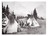 Native American Teepee Camp, Montana, C.1900 (B/W Photo) Premium Giclee Print by  American Photographer