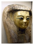 Head from a Sarcophagus, Sait Period (Palm Wood with Gold Leaf) Giclee Print by  Egyptian 26th Dynasty