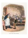 Oliver Asking for More, Illustration for 'Oliver Twist' by Charles Dickens (Colour Litho) Giclee Print by George Cruikshank