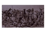 Dervish Warriors at Omdurman, Charge of the 21st Lancers (Litho) Giclee Print by Richard Caton Woodville