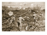 Sergeant H. Wells Leading a Platoon Towards the German Wire Entanglements Giclee Print by H. Ripperger