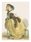 Lady Reading in a Garden in a Simple Yellow Gown with Brown Shawl, Engraved by Dupin, Plate No.223 Giclee Print by Francois Louis Joseph Watteau
