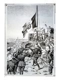 Raising the Italian Flag over Tripoli on 5 October 1911, 1911 (Litho) Giclee Print by  Italian