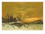 Winter Landscape with View of Buildings at Evening Giclee Print by Friedrich Nicolai Joseph Heydendahl